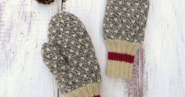 Knitting Pattern For Thrum Mittens : MADE TO ORDER Thrummed Mittens Hand Knit Grey and White Wool with Red Stripe ...