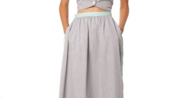 Blue chambray full skirt womens bottoms in god we for Cuisine you chambray
