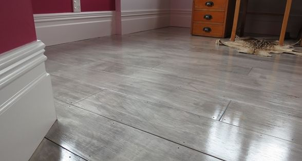 Gray painted plywood plank floors i am so doing this