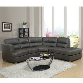 Monarch Specialties Casual Dark Gray Faux Leather Sectional I