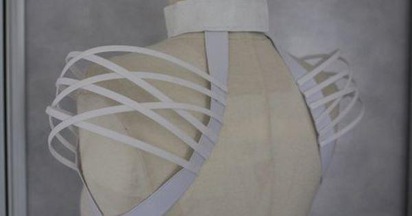 Neck collar black fantasy boned crinoline handmade cage shoulder cage