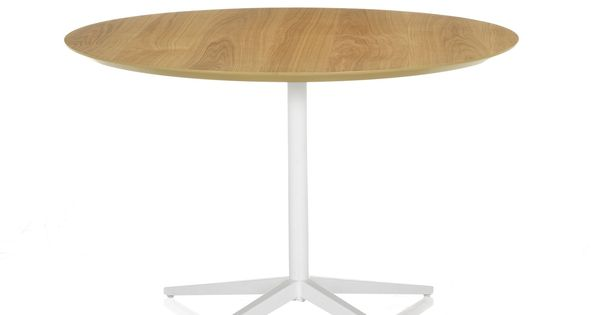Table de repas blanche et bois 110cm ch ne blanc thanis les tables rondes tables de repas - Tafel bois blanc vieilli ...