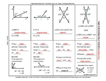 Angle Relationships Flip N Fold Notes With Images Angle