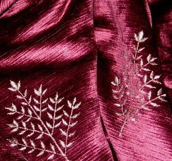 12 Yards Sumptuous Embroidered Burgundy Velvet Drapery Upholstery