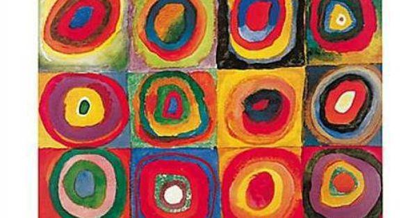 kunstdruck poster farbstudie quadrate von wassily kandinsky englisch kunst und kreise. Black Bedroom Furniture Sets. Home Design Ideas