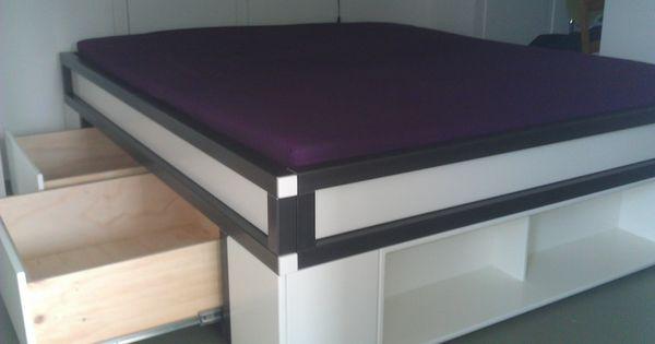 Tweepersoons bed met opbergruimte bedden door eelcke pinterest bedden en met - Loft bed met opbergruimte ...