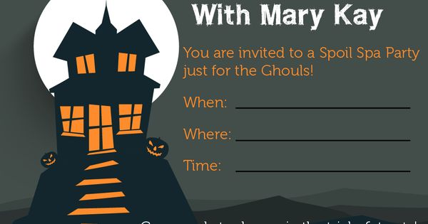 Mary KayA® Halloween Idea Invitations http://www.blog.qtoffice.com/mary-kay-halloween-party-idea/ | See more about Mary Kay, Halloween Ideas and Halloween.