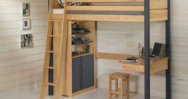 le lit mezzanine enfant avec le bureau et ses 2 blocs le plus grand de lit pour enfant voir. Black Bedroom Furniture Sets. Home Design Ideas
