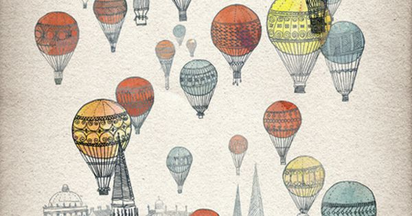 Voyages over Edinburgh Art Print. Hot Air Balloons + Scotland = Yay.