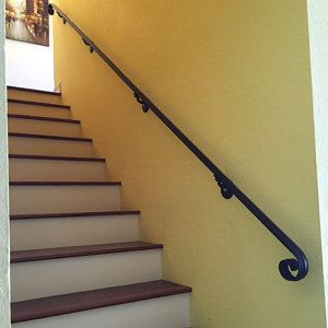 12 Ft Wrought Iron Hand Rail Wall Rail Stair Step Railing Wall Etsy In 2020 Iron Handrails Wrought Iron Handrail Wall Railing