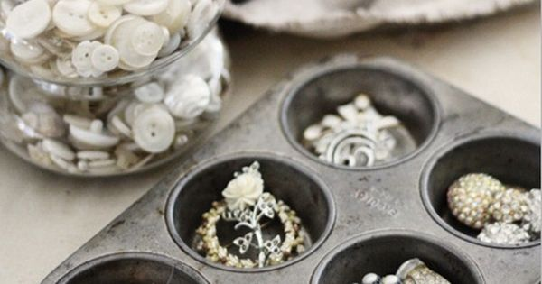 a muffin tin becomes a jewelry holder