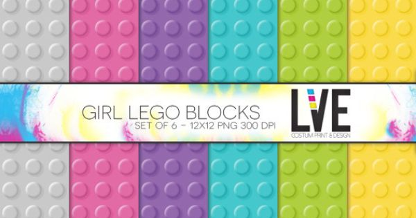12 x 12 digital paper packs pastel lego blocks by xxlve on