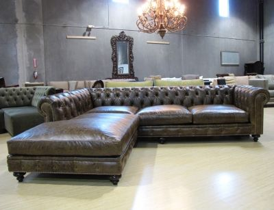Custom Leather Tufted Sectional- very masculine : gray tufted sectional - Sectionals, Sofas & Couches