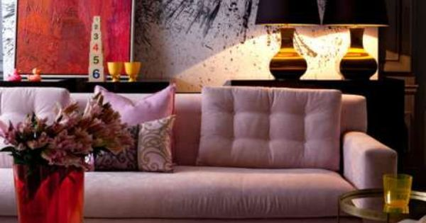 Wow, I love the design and color of this room. Pink sofa