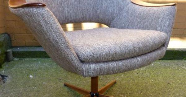 Cool danish modern teak swivel tub chair atomic era styling star base mid century modern home - Vancouver mid century modern furniture ...