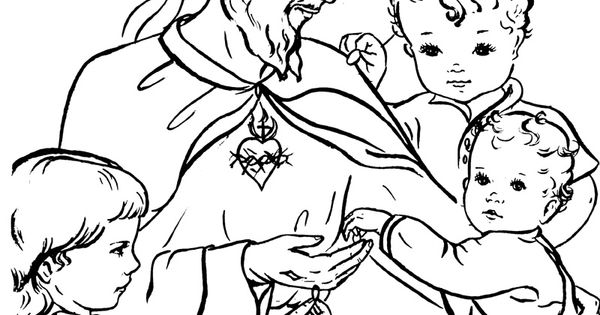 Jesus and the children / Sacred Heart Catholic Coloring ...