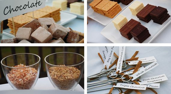 Gourmet smores table. I might like smores better with flavor options and