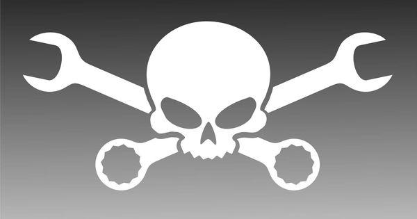 Skull Cross Wrenches Decal Mechanic Pirate Tool Sticker