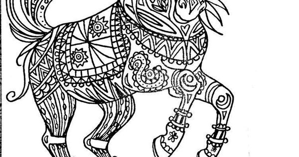 Free Coloring Page Tribal Horse Art by MarieJustine Roy lineart illustrator and artist