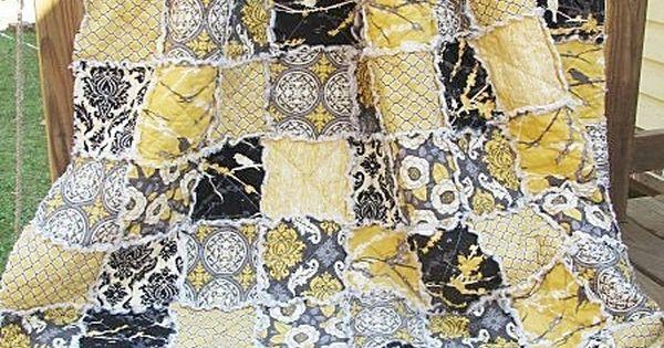 King Size Quilt, Rag, Aviary 2 In Granite, Black Yellow