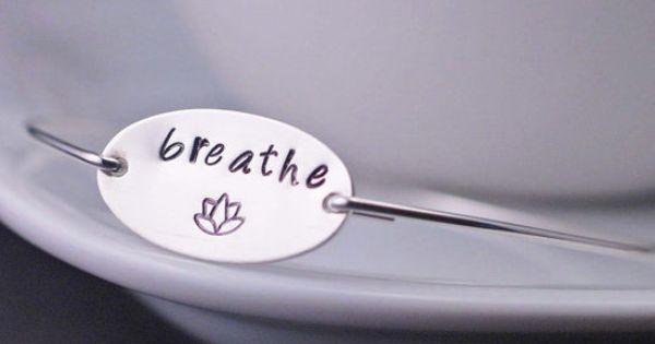 Breathe Bangle Bracelet Eco Friendly Sterling Silver Yoga Jewelry by georgiedesigns