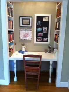 Converting A Closet Into An Office My Hubby Built Me This Amazing Desk And Bookshelf In A Closet Space In In 2020 Home Office Closet Closet Desk Closet Office
