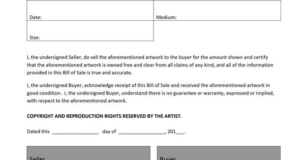 This Is An Artwork Bill Of Sale Template That Can Be Used As A Transaction Record For The Artist X2f The Sell Bill Of Sale Template Sale Template Bill Of Sale