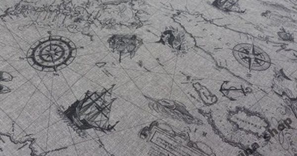 Tkanina Obiciowa Tapicerska Material Mapa Piraci 4968930961 Oficjalne Archiwum Allegro Vintage World Maps World Map Map