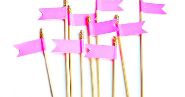 12 Hot Pink & Gold Glitter Flag Cupcake Toppers Washi by ...