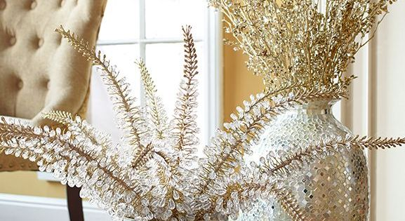 Gold Jeweled Foxtail Stem Apartment Christmas