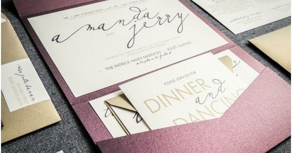 Modern calligraphy wedding invitations purple