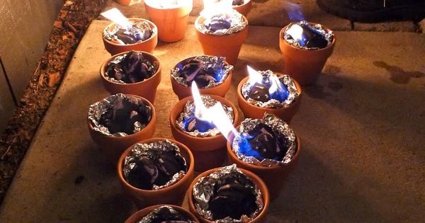 Charcoal lit in terra cota pots lined with foil. For table top
