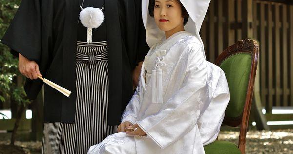 Japanese Shinto Wedding At Meiji Shrine. Traditional Groom