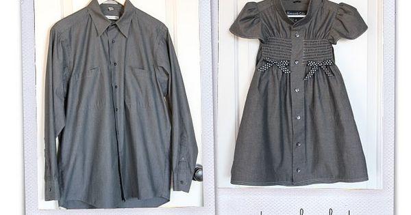 men's dress shirt into little girl's dress