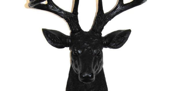 Z Gallerie Moose Head Large Black 8 Point De...