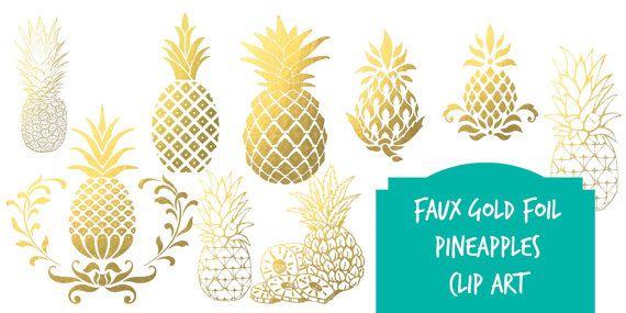 Digital Clip Art Gold Foil Pineapples Instant Download