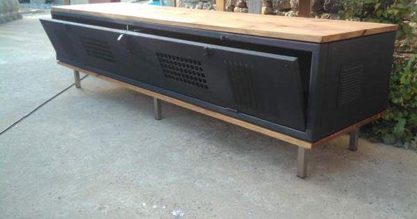Meuble tv industriel casier loft ameublement loire for Meuble tv casier