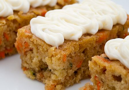 Carrot zucchini bars with lemon cream chees frosting