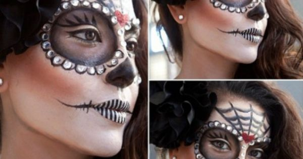 Looking for a super easy way to do your Halloween makeup? | See more about Day Of The Dead, Lips and Makeup.