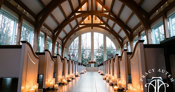 Ashton Gardens Chapel In Corinth Texas At Dusk Winter Wedding Candle Lined Aisle Ceremony