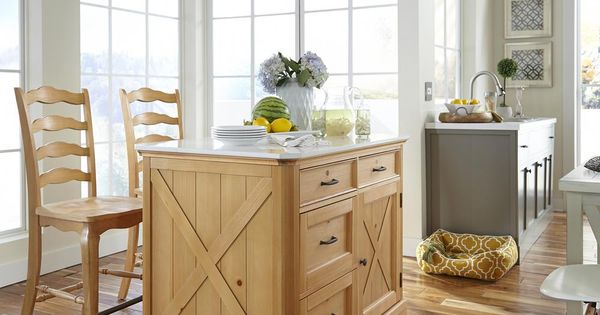 Homestyles Country Lodge Pine Kitchen Island With Quartz Top And Two Bar Stools 5524 948 Country Kitchen Island Kitchen Island With Seating Pine Kitchen