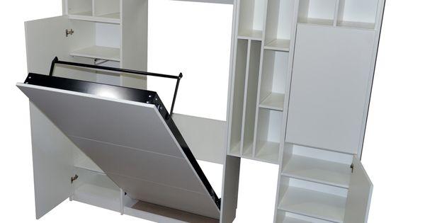 Mueble cama plegable rebatible en melamina blanca para - Muebles camas plegables ...
