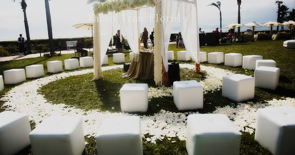Unique Circular Ceremony seating. Outdoor summer wedding idea. Ceremony Ideas for your