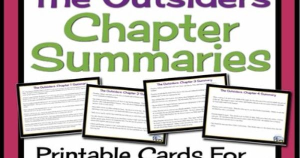 outsiders printable chapter summary cards for review and