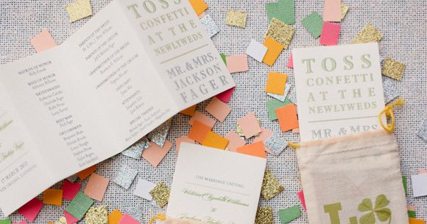 confetti wedding programs, photo by Magnolia Pair