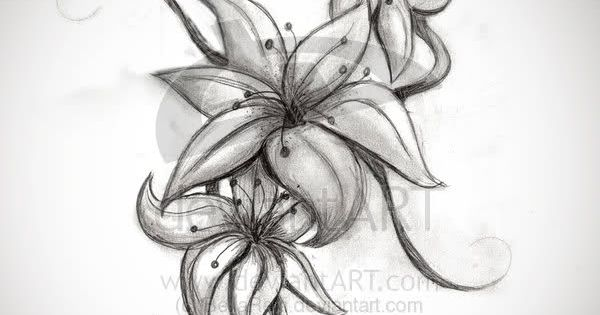 Pink Lily Flower Tattoo Art Design. Would be cool to have something