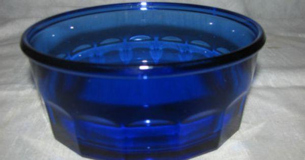 Arcoroc-France-Cobalt-Blue-Faceted-Glass-Soup-Cereal-Salad-Individual-Bowl   GLASS BLUE ...
