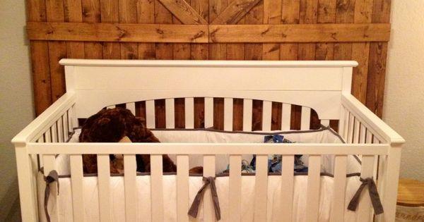 Baby Boy Rustic Modern White Crib Bedding Barn Doors