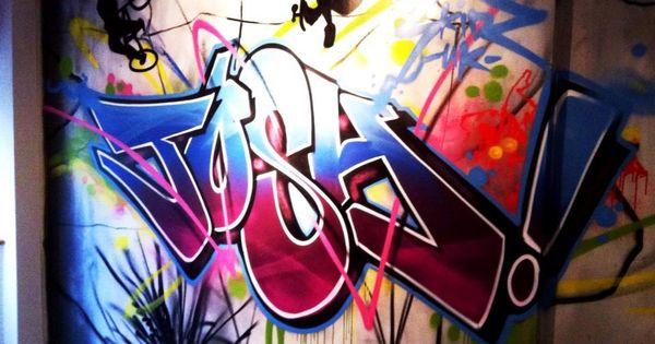 Children teen kids bedroom graffiti mural hand for Bedroom graffiti designs