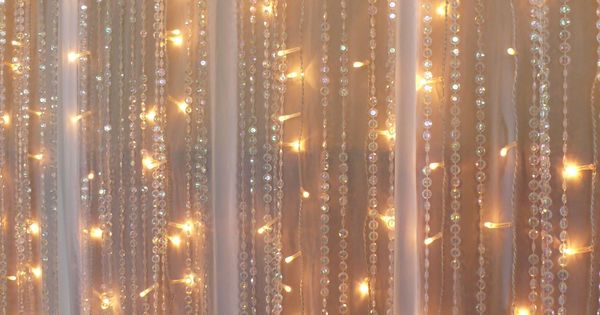 Chiffon Fairy Lights Beaded Crystal Curtains Real